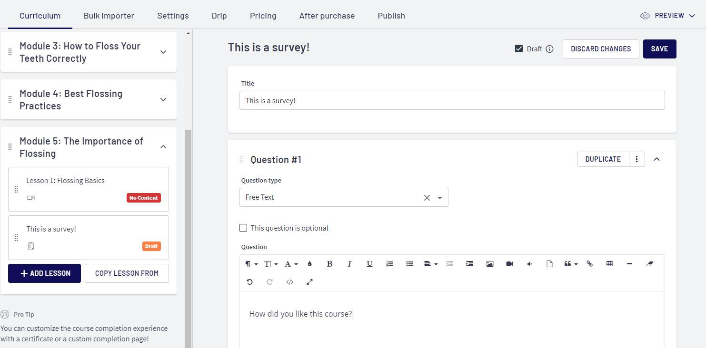 Adding a Survey to Thinkific