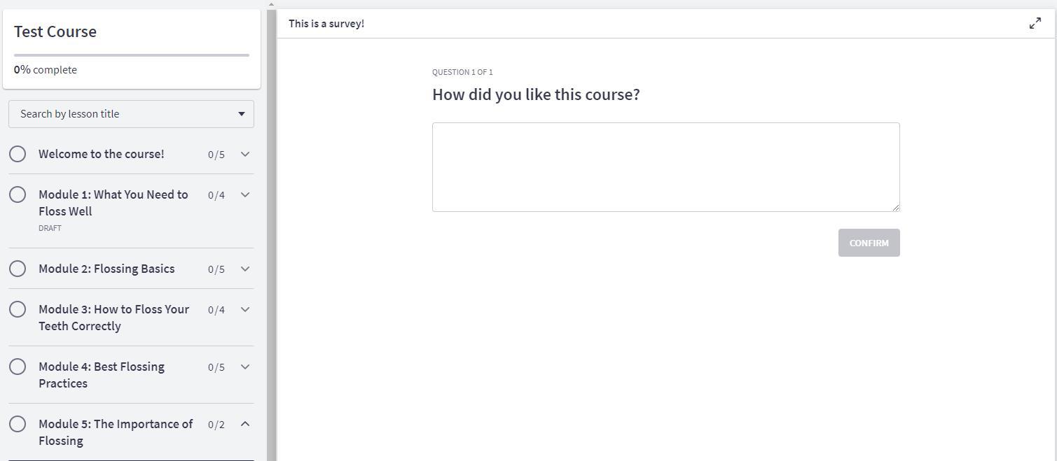 Example Survey inside Thinkific